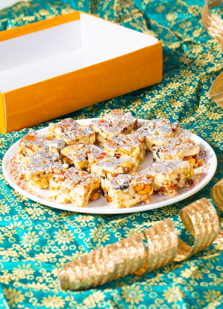 Indian sweet food sugar free dry fruits Premium Photo