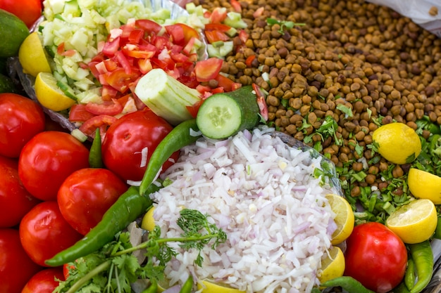 Indian traditional home made sprouts masala mix salad Premium Photo