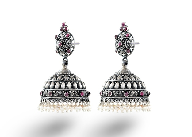Indian traditional jewellery jhumar or jhumki wear by rural woman in indian village on there cultural festival Premium Photo