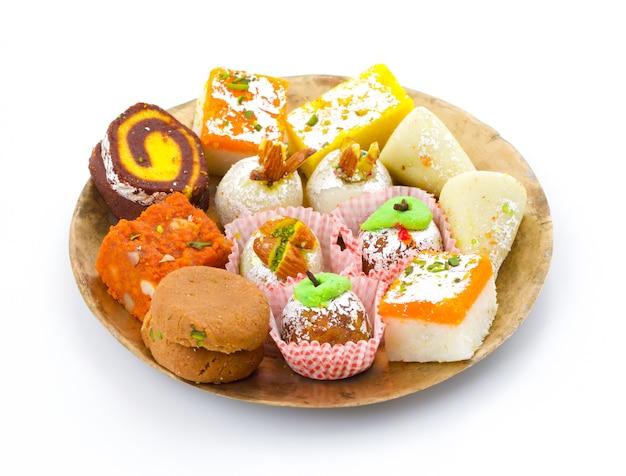 Indian traditional mix sweet food Premium Photo