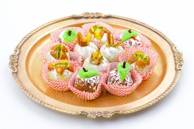 Indian traditional mix sweet food Premium Photo