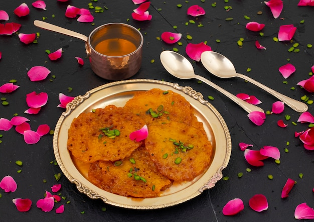 Indian traditional popular sweet food malpua or amalu Premium Photo