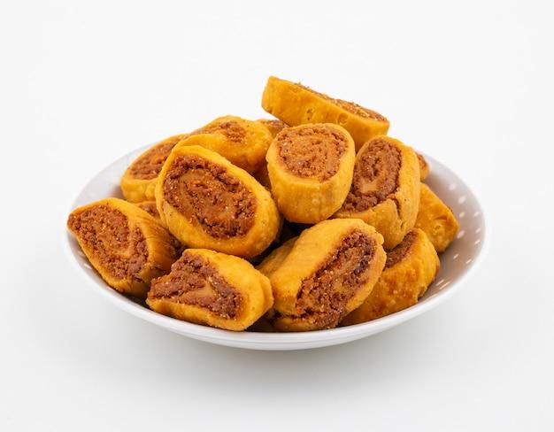 Indian traditional spicy snack bhakarwadi Premium Photo