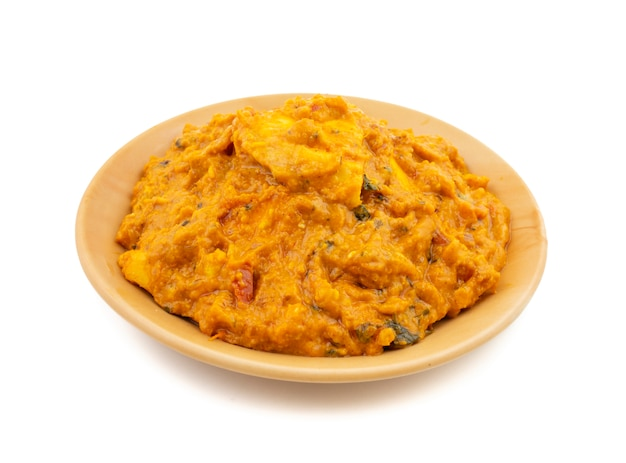 Indian vegetarian cuisine special sweet and spicy paneer pasanda Premium Photo