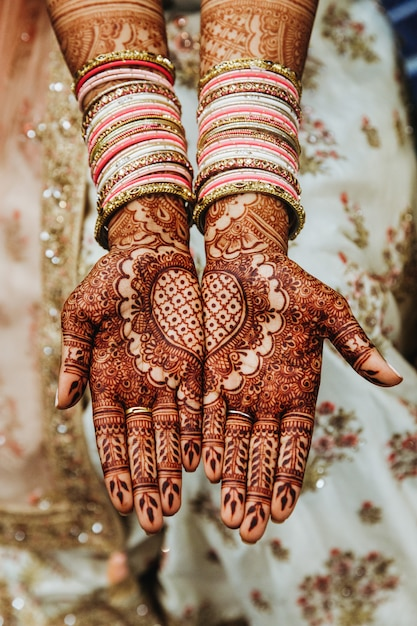 Free Photo Indian Wedding Bangles And Mehandi Henna Coloured Hands With Reflective Ornament