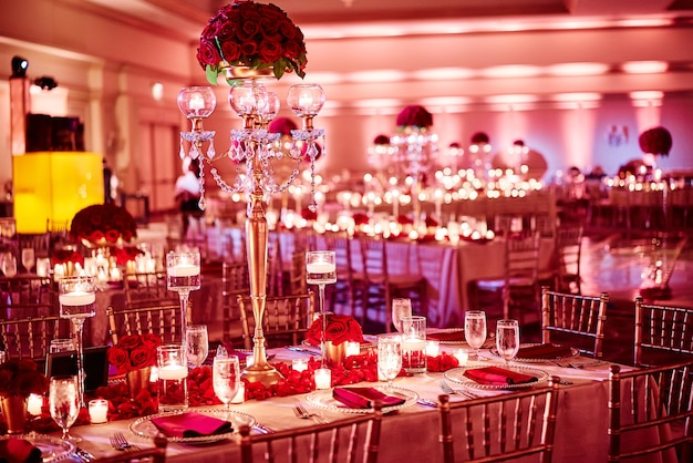 Indian Wedding Reception Dinner Venue Decoration With Luxury Red
