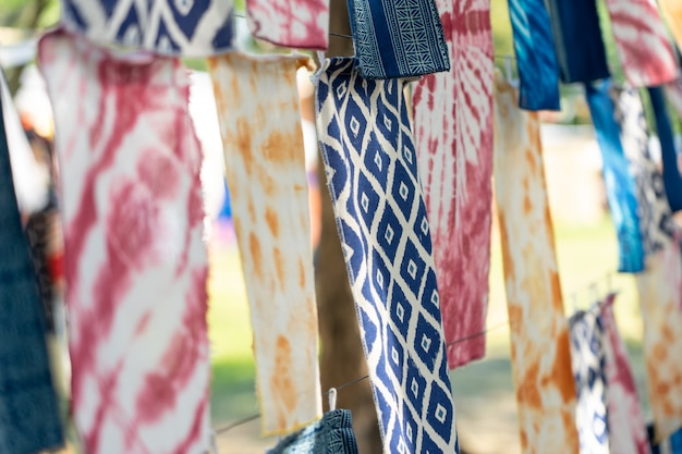 Indigo dyed fabric ancient dyeing methods of the native people of thailand Premium Photo