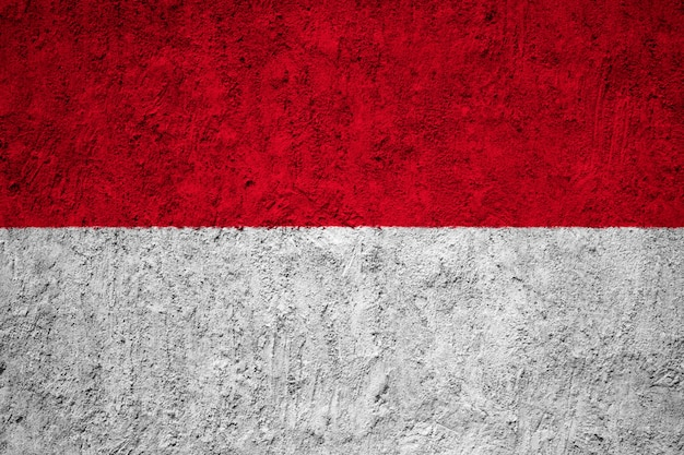 Indonesia flag painted on grunge wall Premium Photo