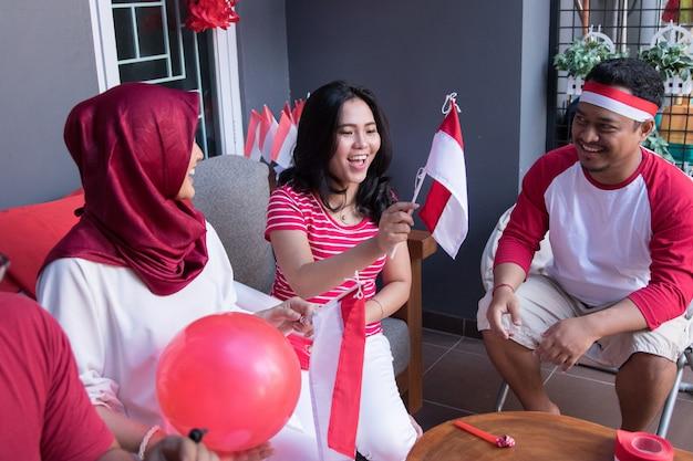 Празднование дня независимости индонезии Premium Фотографии