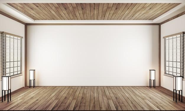 Indoor empty room japan style. 3d rendering Premium Photo