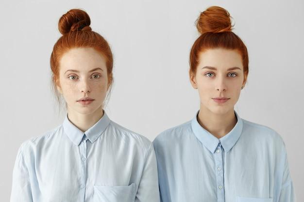 同じ髪のパンを身に着けているように見える2人の豪華な赤毛の女の子の屋内撮影 無料写真