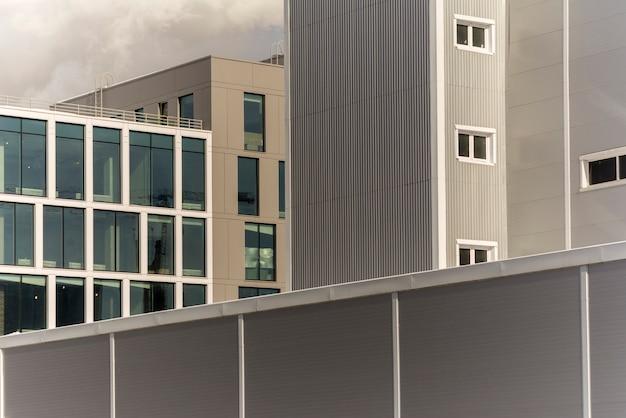Industrial buildings made of sheet metal. factory territory Premium Photo