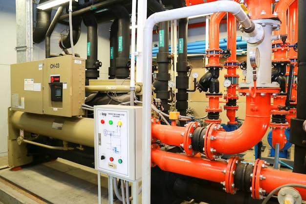 Industrial chiller plant room. Premium Photo