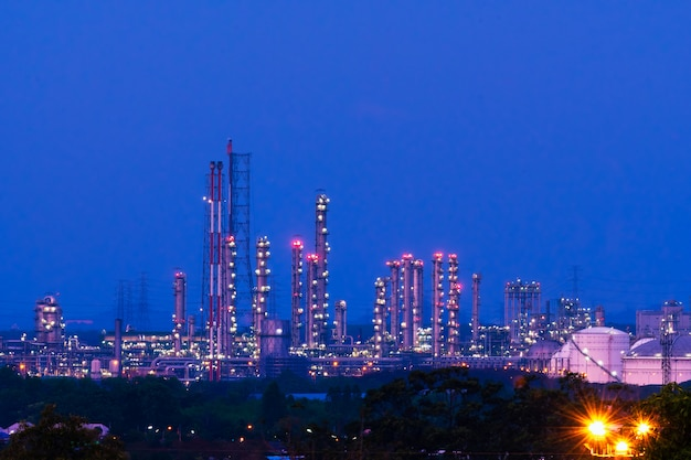 Industrial factory in the night time. Premium Photo