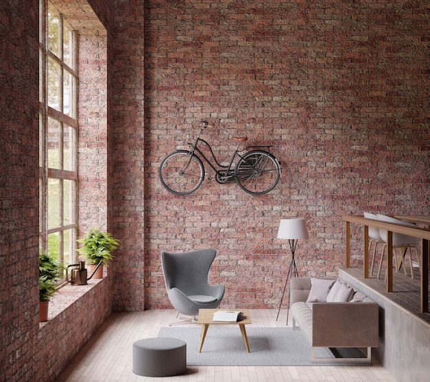 Industrial  living room ,big window , couch and chair, wooden floor, bicycle Premium Photo