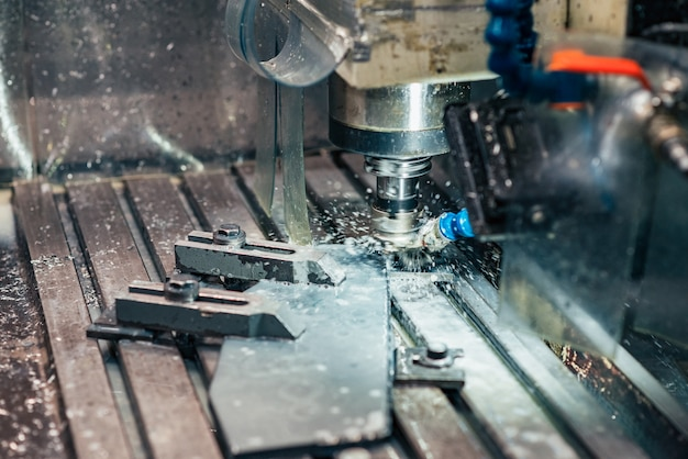 Industrial metalworking cnc water jet cutting metal. Premium Photo
