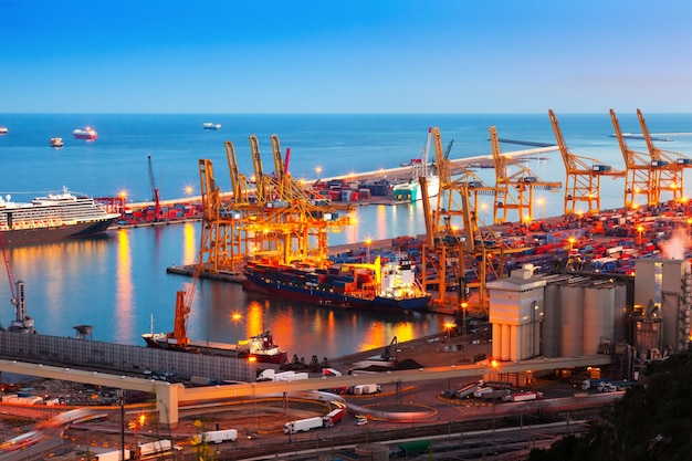 Industrial port de barcelona in evening Free Photo