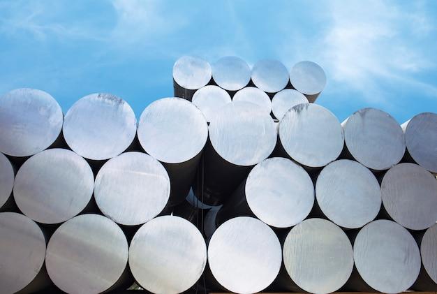 Industrial raw materials, heap of aluminium bar in aluminium
