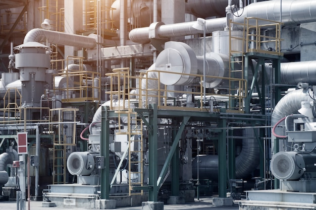 Industrial view at oil refinery plant form industry zone Premium Photo