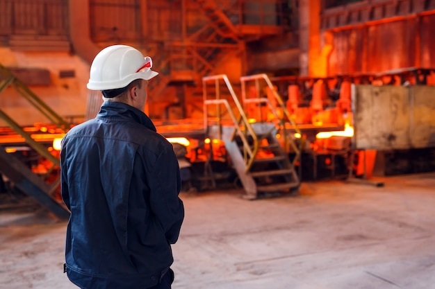 Industrial worker at the factory welding closeup Premium Photo