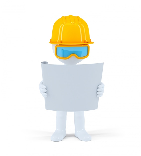 Industrial worker with the construction plan Free Photo