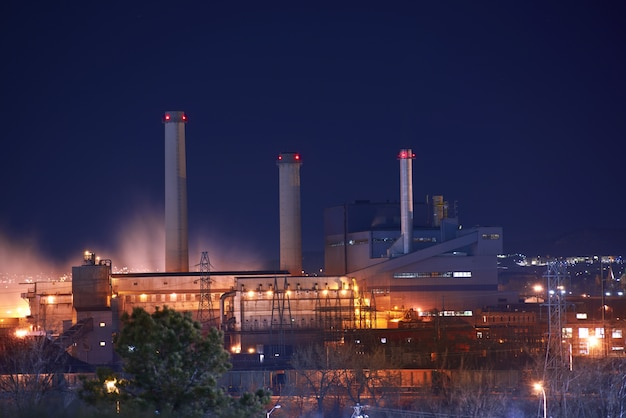 Industrial zone at night Free Photo