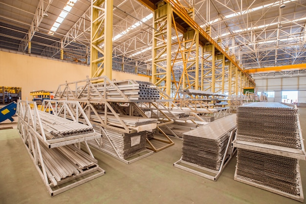 Industry and construction equipments inside a storehouse of a factory Free Photo