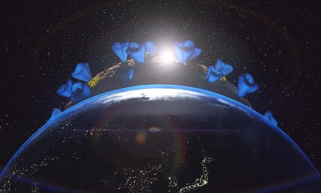 Зараженная планета земля крупным планом и солнце Бесплатные Фотографии
