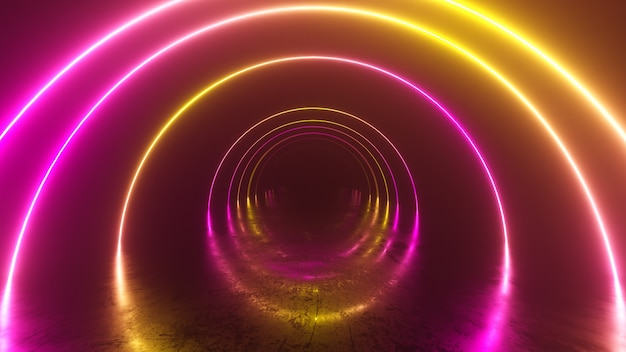 터널 내부의 무한 비행, 네온 빛 추상적 인 배경, 둥근 아케이드, 포털, 반지, 원, 가상 현실, 자외선 스펙트럼, 레이저 쇼, 금속 층 반사. 3d 일러스트 프리미엄 사진