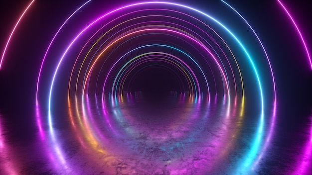 Infinity flight inside tunnel, neon light abstract background, round arcade, portal, rings, circles, virtual reality, ultraviolet spectrum, laser show, metal floor reflection. 3d illustration Premium Photo