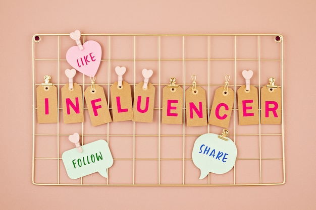 Influencer text on the golden colored mesh board Premium Photo