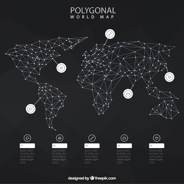 Infographic with polygonal world map premium vector le imaxes image for infographic with polygonal world map premium vector gumiabroncs Images