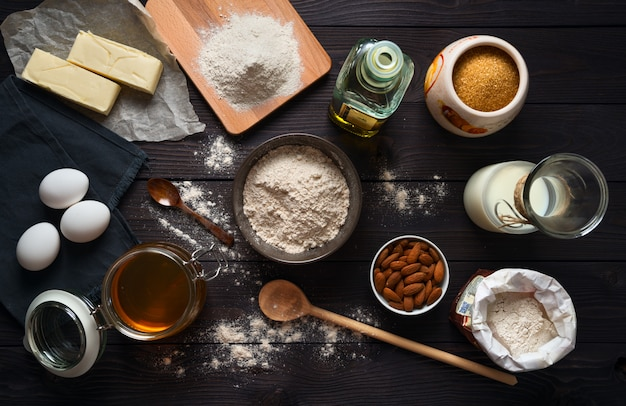 Ingredients for baking Premium Photo