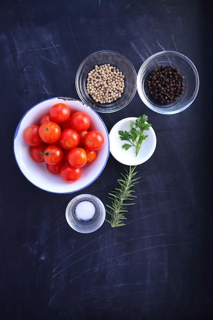 Ingredients in bowl on black woooden Premium Photo