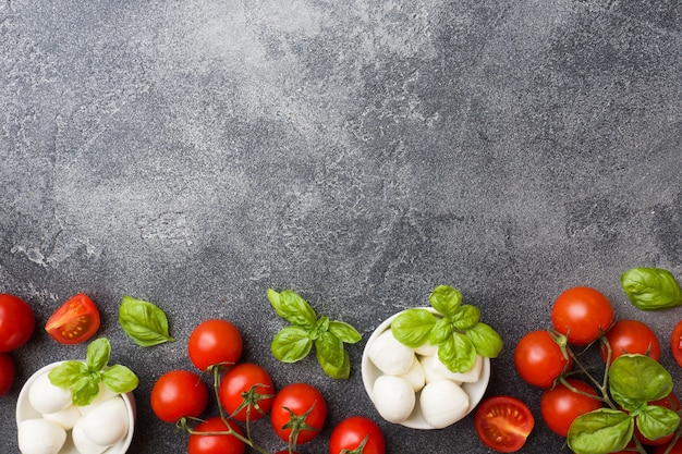 The ingredients for a caprese salad. basil, mozzarella balls and tomatoes with copy space. Premium Photo