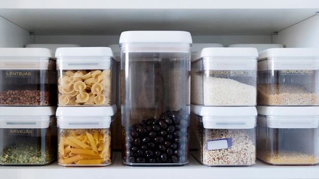 Ingredients in containers Free Photo