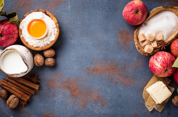 Ingredients for cooking apple pie Premium Photo