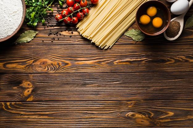 Ingredients for pasta preparation Free Photo