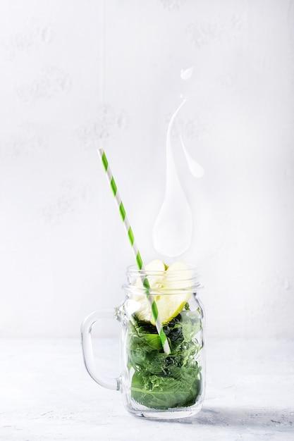 Ingredients for green smoothie Premium Photo
