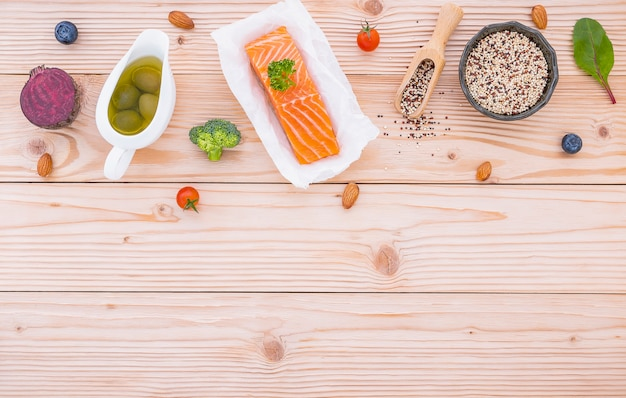 Ingredients for the healthy foods selection on wooden . Premium Photo