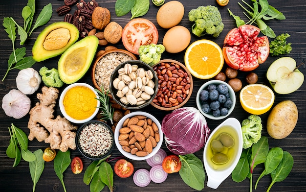 Ingredients for the healthy foods selection. Premium Photo