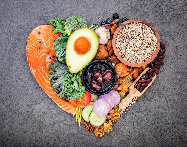 Ingredients for healthy foods selection Premium Photo