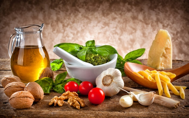 Ingredients for pesto Premium Photo