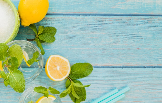 Ingredients for refreshing lemonade Free Photo