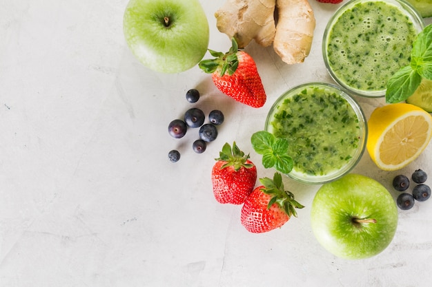 Ingredients for a tasty green smoothie Free Photo