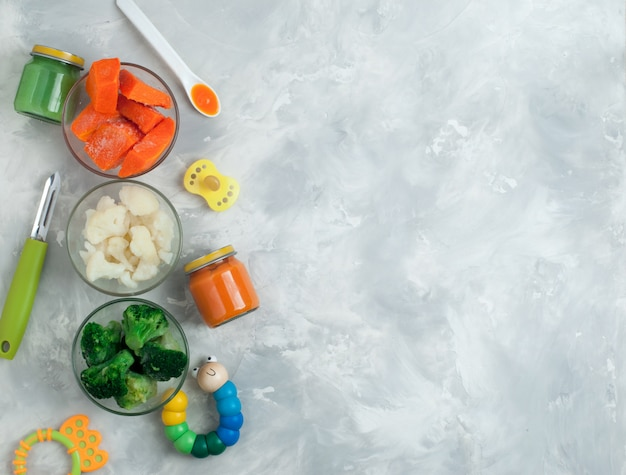 Ingredients for vegetable puree on gray background Premium Photo