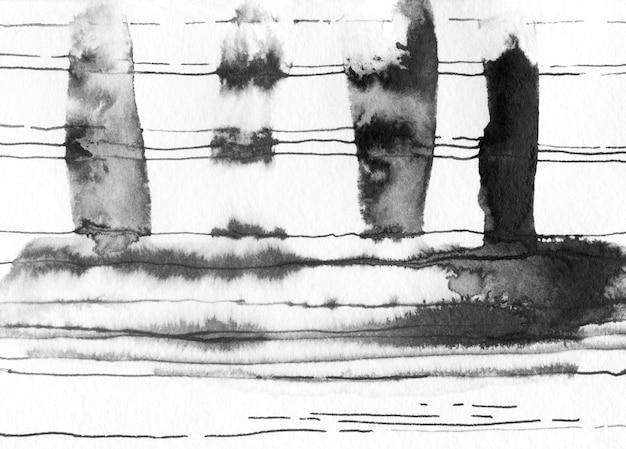 インクの抽象的なスポット、線。 Premium写真