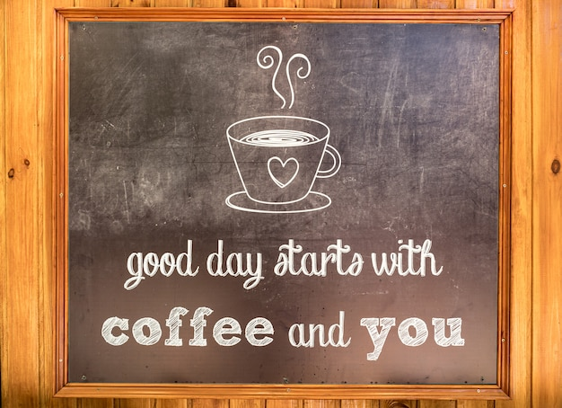 Inscription about coffee on a board Free Photo
