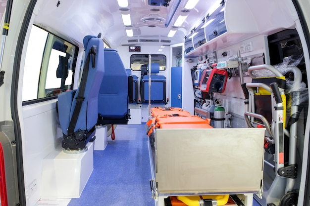 Inside an ambulance car with medical equipment to assist patients Premium Photo