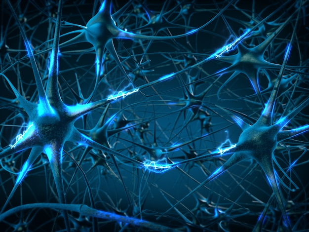 Inside the brain. concept of neurons and nervous system.3d rendering. Premium Photo